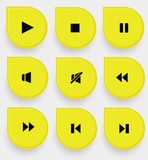 Audio icons on yellow buttons,vector