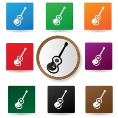 Guitar icons on colorful buttons,vector