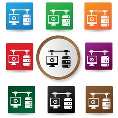 Connection database icons on colorful buttons,vector