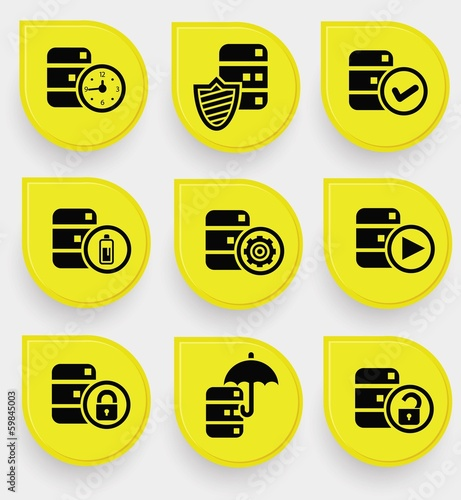 Database icons on yellow buttons,vector