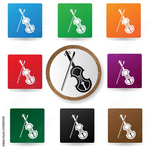 Violin icons on colorful buttons,vector