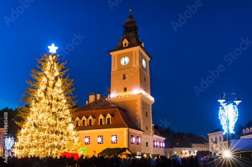 Brasov historical center in Christmas days, Romania