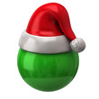 Red  christmas hat and green sphere