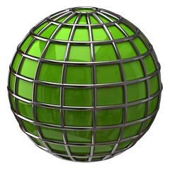 Green globe isolated on white background