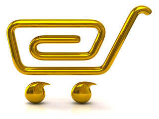 Golden shopping cart icon on white background
