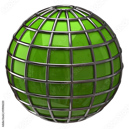Green globe isolated on white background