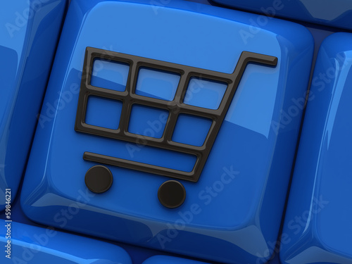 Illustration of shopping cart symbol on blue computer key