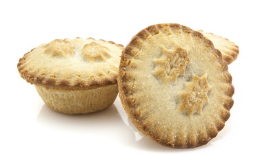 Christmas mince pies on a white background.