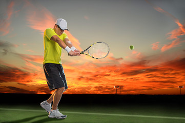 Tennis Player at Sunset