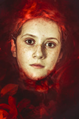 Blood, Young drown woman in a poetic representation. fantasy art