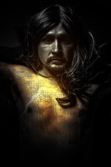 communications concept, Male model, evil, blind, fallen angel of