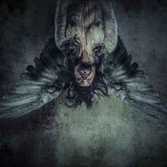 Fallen angel of death, Male model, evil, blind