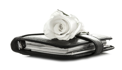 White Rose on black Filofax