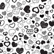 Seamless pattern of hearts, black on white