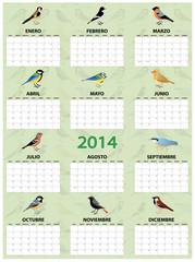 2014 spanish calendar with different european common birds