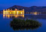 Water Palace Jal Mahal at night. Man Sager Lake, Jaipur, Rajasth