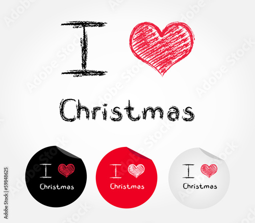 I love Christmas - vector illustration
