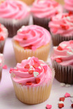 Pink Holiday Cupcakes with Heart Candies