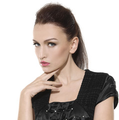 face of brunette woman with fashion makeup