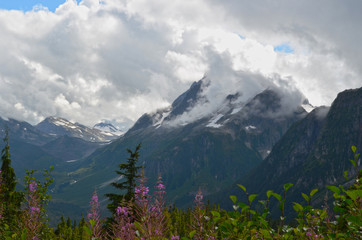 Mt. Fougner in clouds near M. Gurr Lake, Bella Coola, BC, Canada