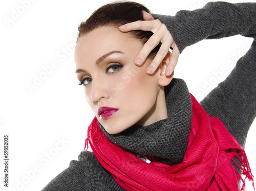Close-up portrait of beautiful girl in stylish
