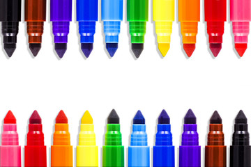 Colored markers isolated on white background