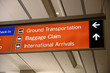 Baggage claim and Ground Transportation sign concept of travel