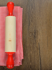 rolling pin and red napkin