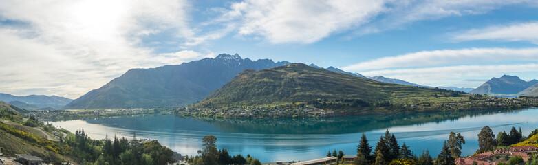 Panoramic image of lake Wakatipu, New Zealand