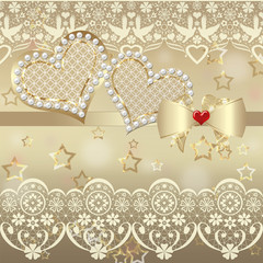 Album valentine card with hearts and lace on golden