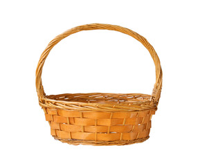 Wicker gift basket isolated on white background