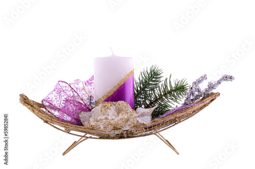 Christmas table decoration isolated on white
