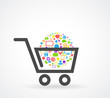 shopping cart social media concept