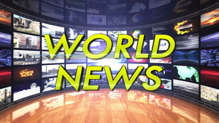 World News Text in Monitors Room, Loop