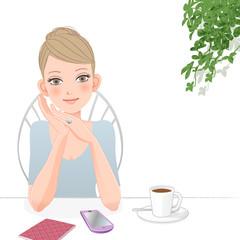 女性 カフェ スマートフォン Cute woman relaxing at café with smart phone