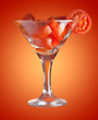 martini glass with tomato