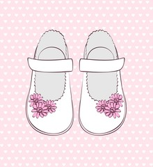 Fashionable  white shoes for little girls .