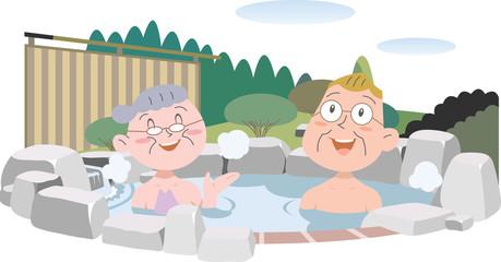 温泉を楽しむシニア