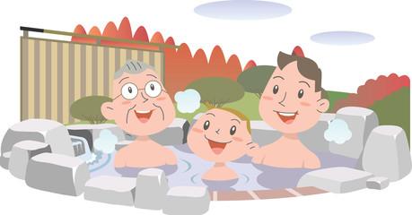 三世代で温泉を楽しむ秋