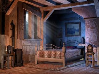Sypialnia w starej wiejskiej chatce