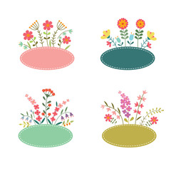 Set of romantic flower labels