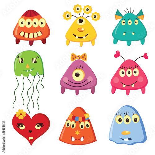 Set of cartoon monsters