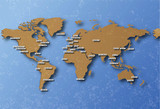 cartographie terre avec capitales poster