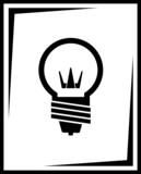 icon with black light bulb silhouette poster