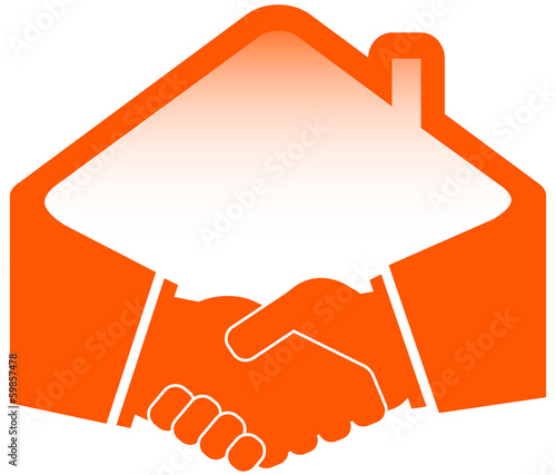 handshake with roof - construction or real estate symbol
