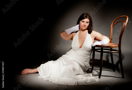 Lady In White Evening Dress