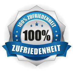100 Prozent Zufriedenheit Siegel in blau