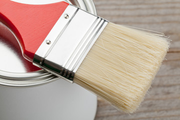 Paint brush and can