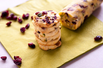 Cranberry cookies on green napkin