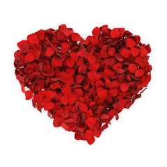 Heart made from Red Rose Petals isolated on white